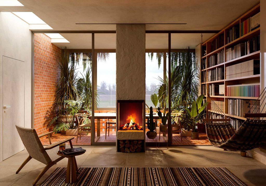 Salon Japandi ouvert sur un balcon avec de la végétation