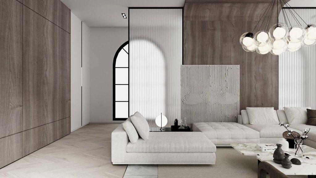 Salon ultra design blanc lumineux avec bois, béton et mobilier bas