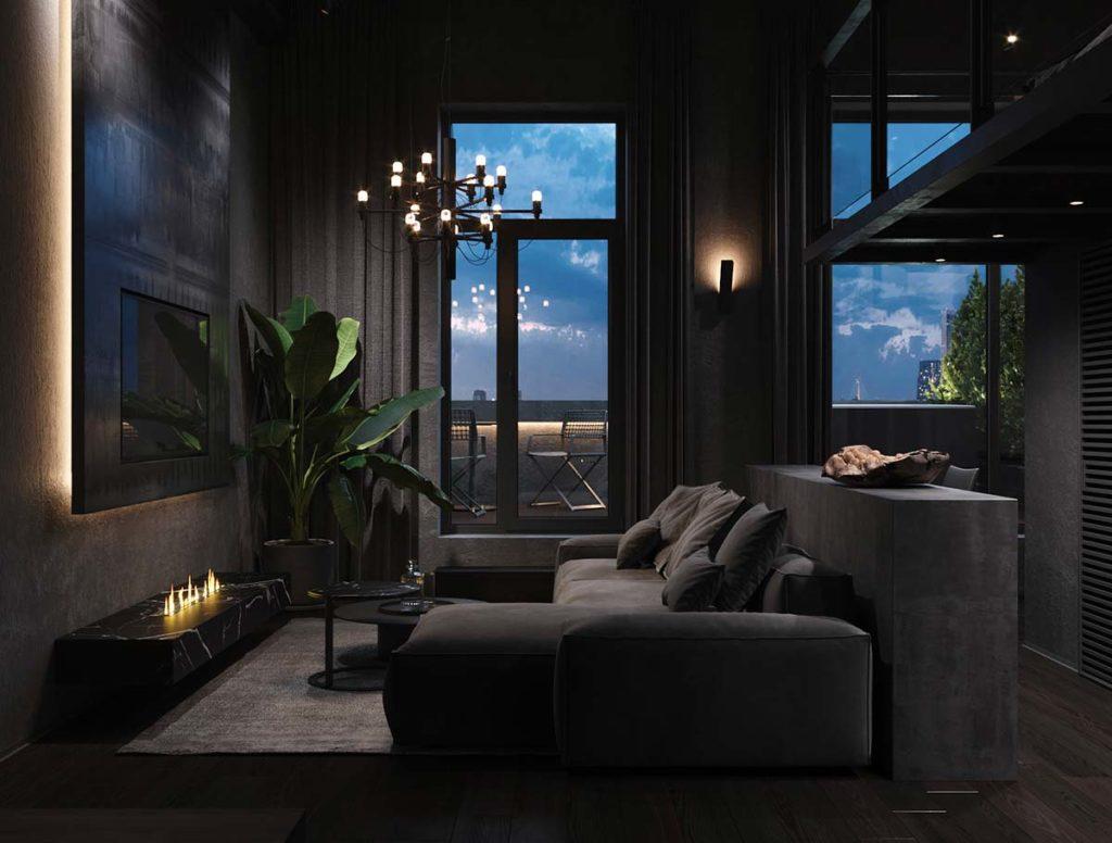 Un salon contemporain noir, canapé bas noir. Total look noir