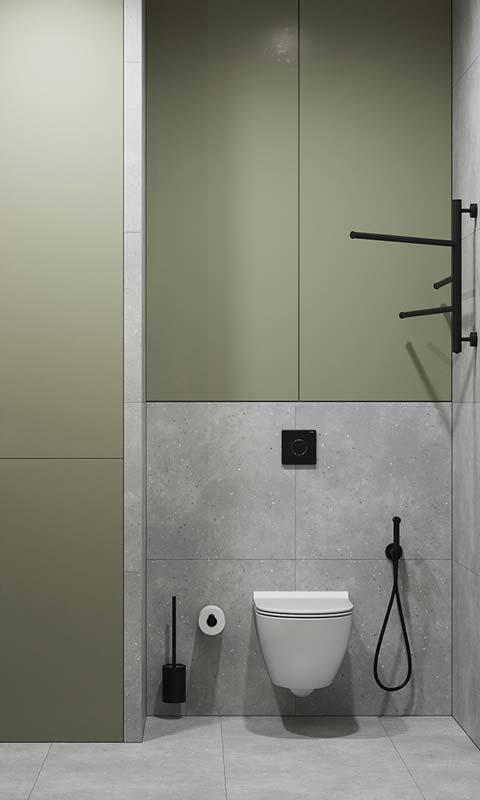 Des toilettes kaki et grise avec un carrelage effet béton