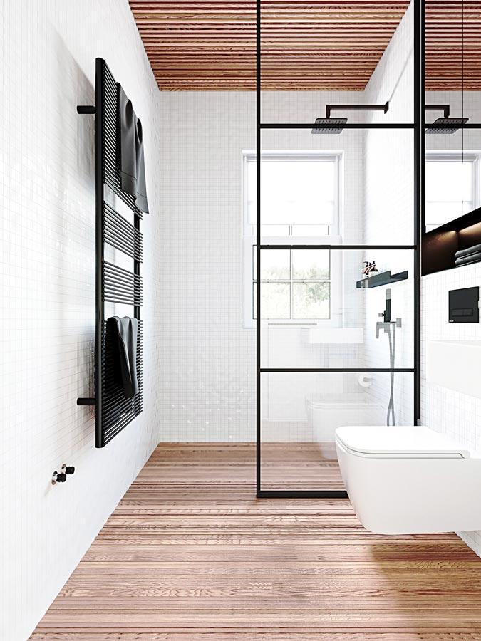 Une salle de bain blanche avec un bardage en tasseaux de bois au plafond