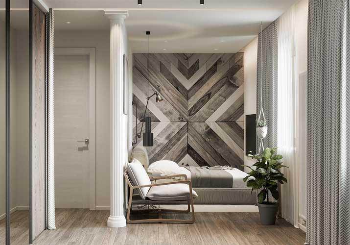 Tête de lit en lambris de bois grisé de forme ethnique