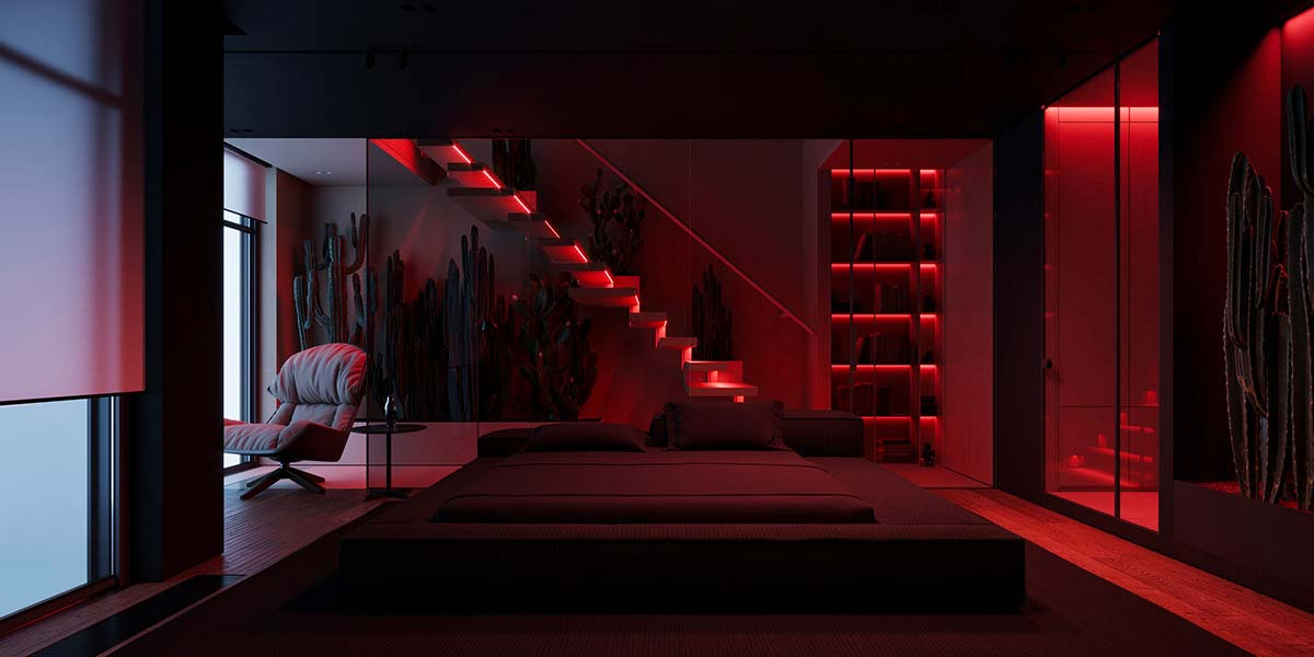 Une suite parentale réchauffée par des néons de couleurs rouge
