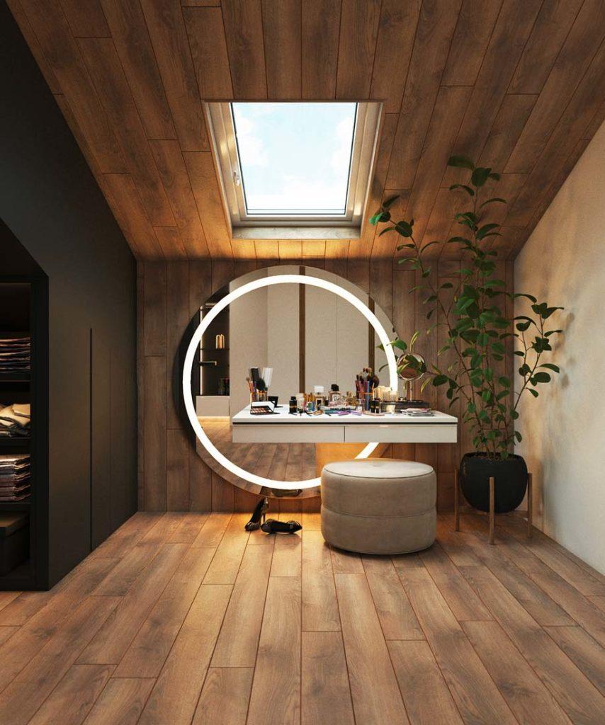 Un boudoir sous rampant avec un bardage intérieur en chêne miel