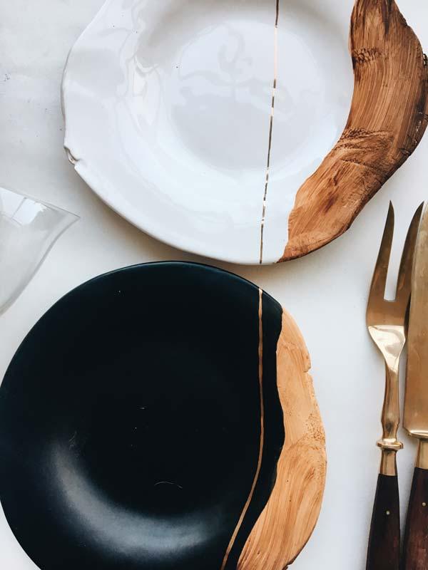 Vaisselle d'inspiration kintsugi porcelaine et bois