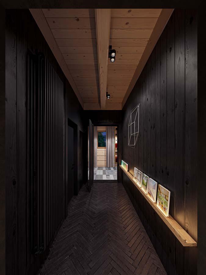Un couloir avec un lambris en bois brûlé ébène