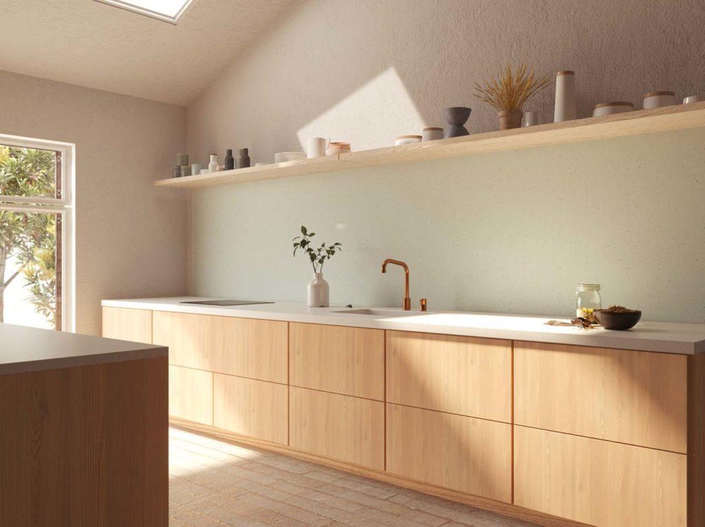Cuisine minimaliste avec des étagères pour exposer la vaisselle