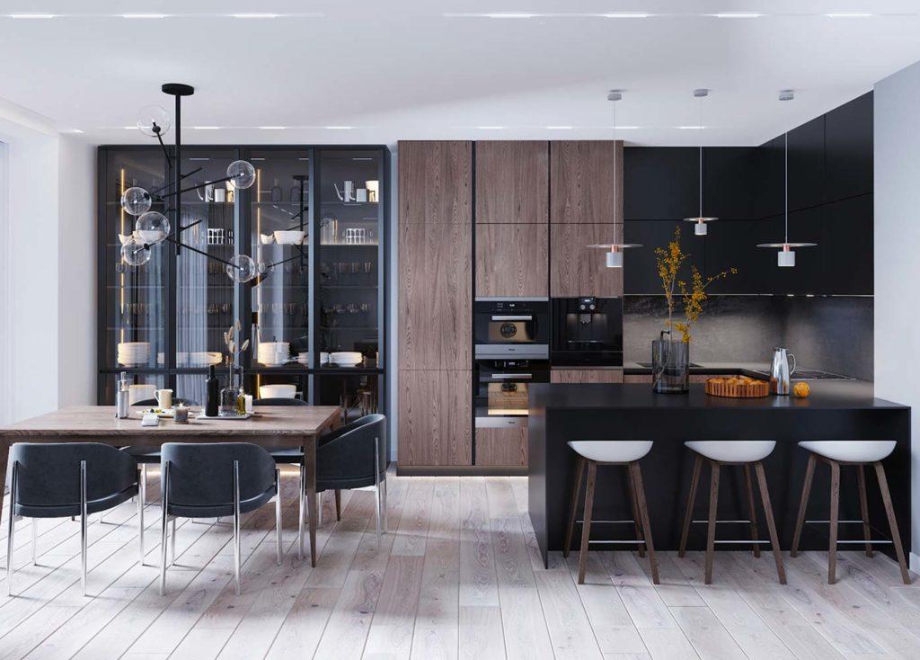 Dans une cuisine moderne on adopte la tendance des armoires vitrées de cuisine