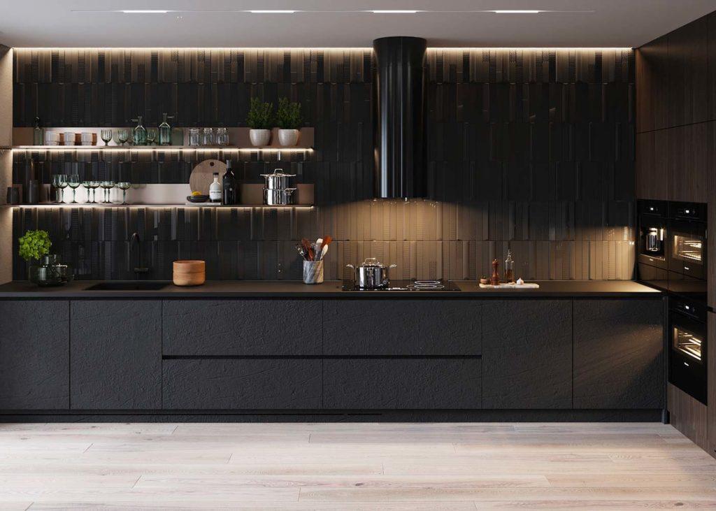 Cuisine moderne noire avec étagères noires en inox pour tendance shelfie
