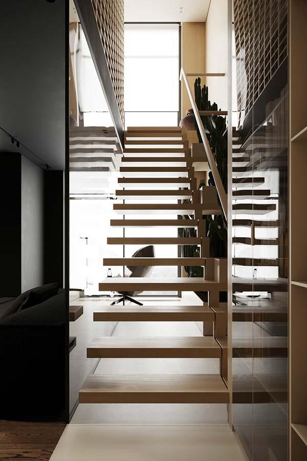 Un escalier rétroéclairé par des lumières néon