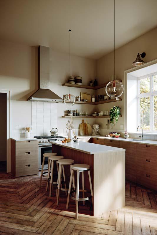 Des étagères d'angles pour ranger la vaisselle