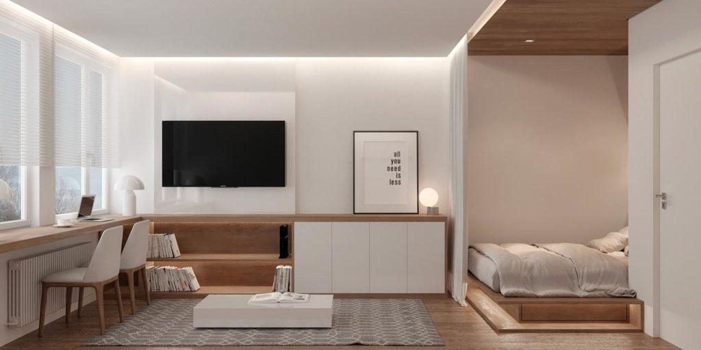 Un petit studio à l'aménagement ingénieux grâce au bardage intérieur