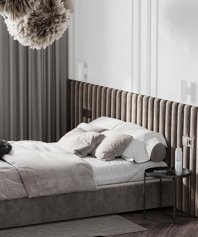 Une tête de lit en velours ondulée