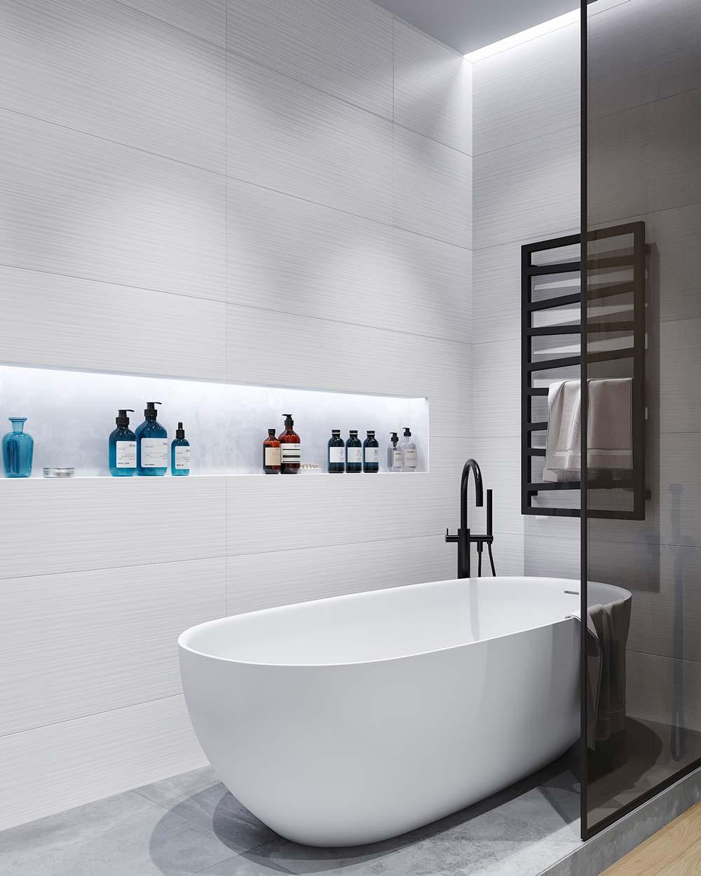 L'éclairage néon réchauffe une salle de bain minimaliste