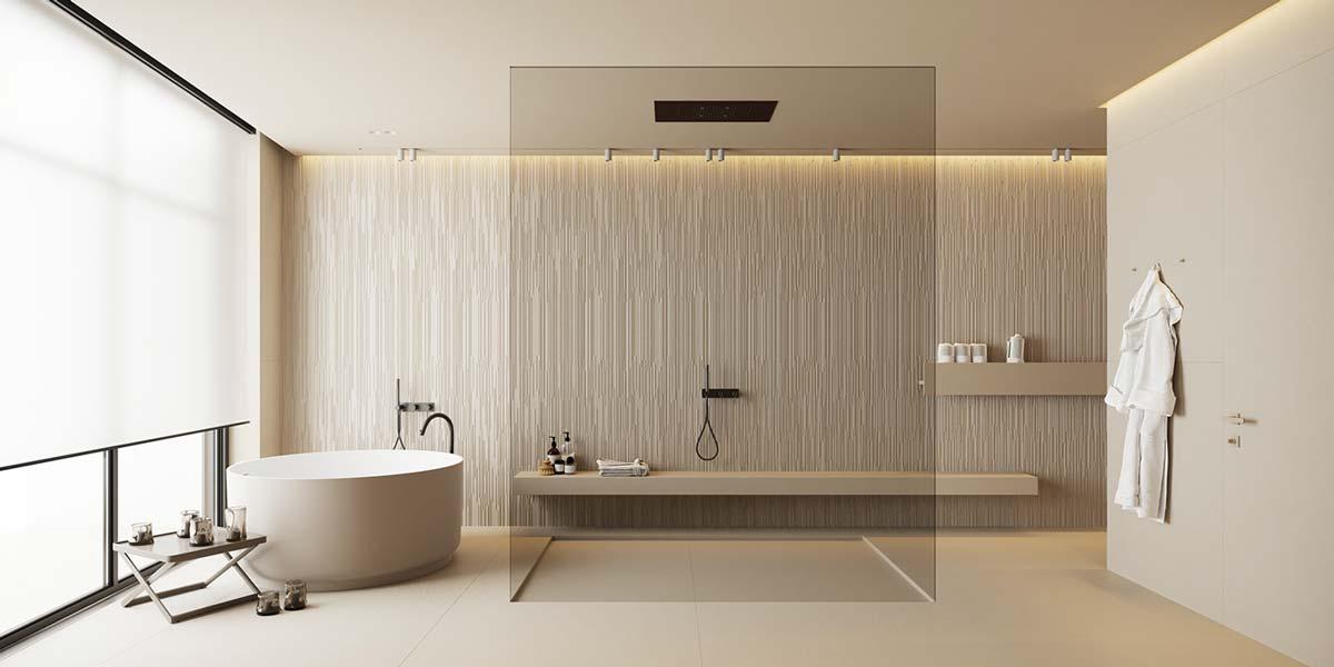 Les néons diffusent une lumière tamisée dans une salle de bain à l'esprit spa