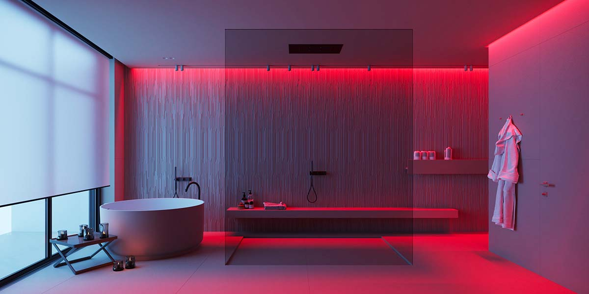 L'éclairage néon change l'ambiance d'une salle de bain à l'esprit spa