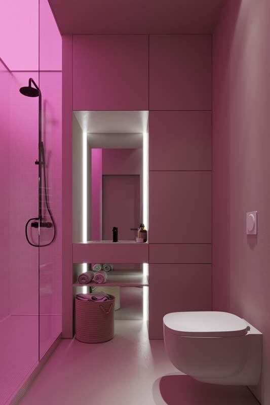 Une salle de bain minimaliste blanche éclairée en néon rose