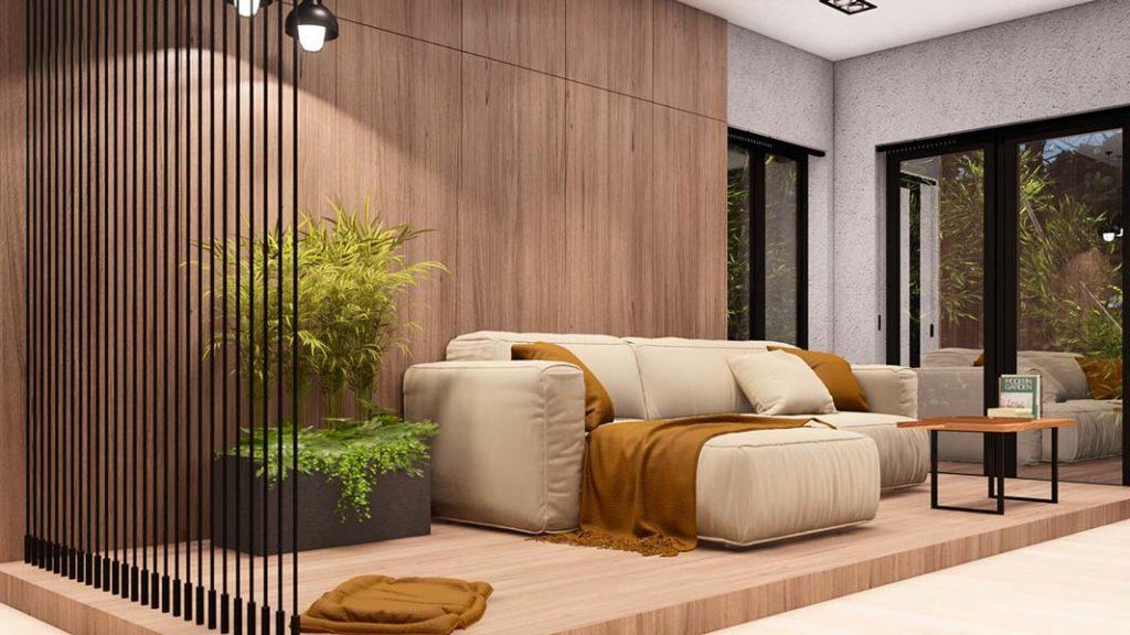 Un salon contemporain avec un lambris en bois chêne clair