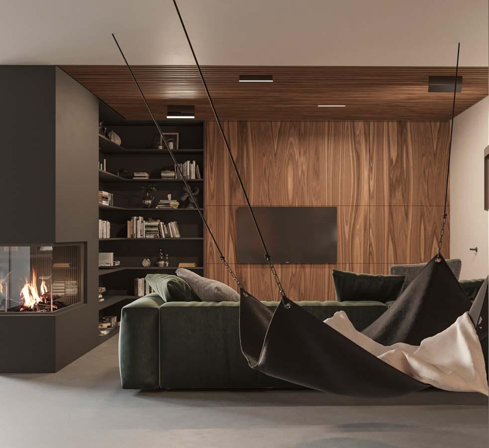 Un salon contemporain noir, gris avec un bardage en noyer foncé sur un mur et au plafond
