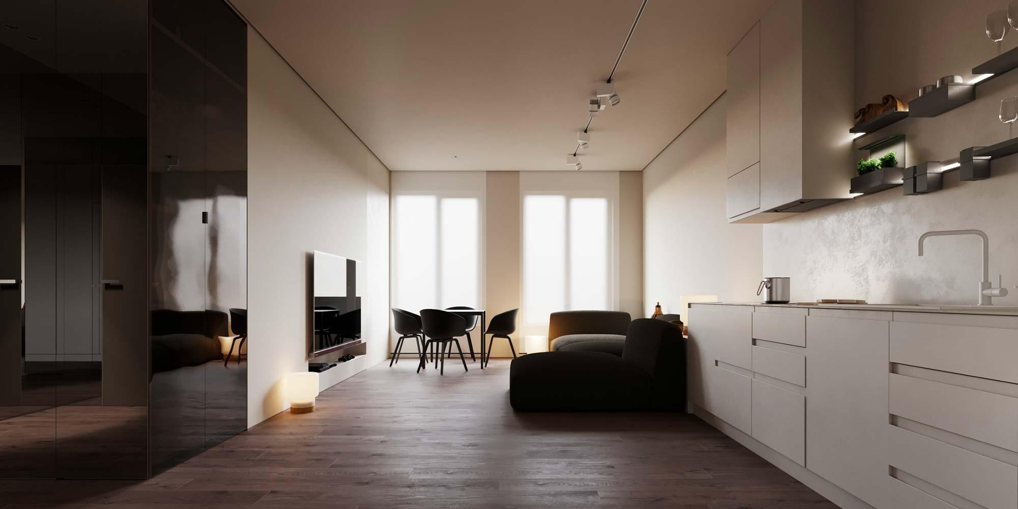Une cuisine minimaliste blanche et noir avec un éclairage néon sur les étagères