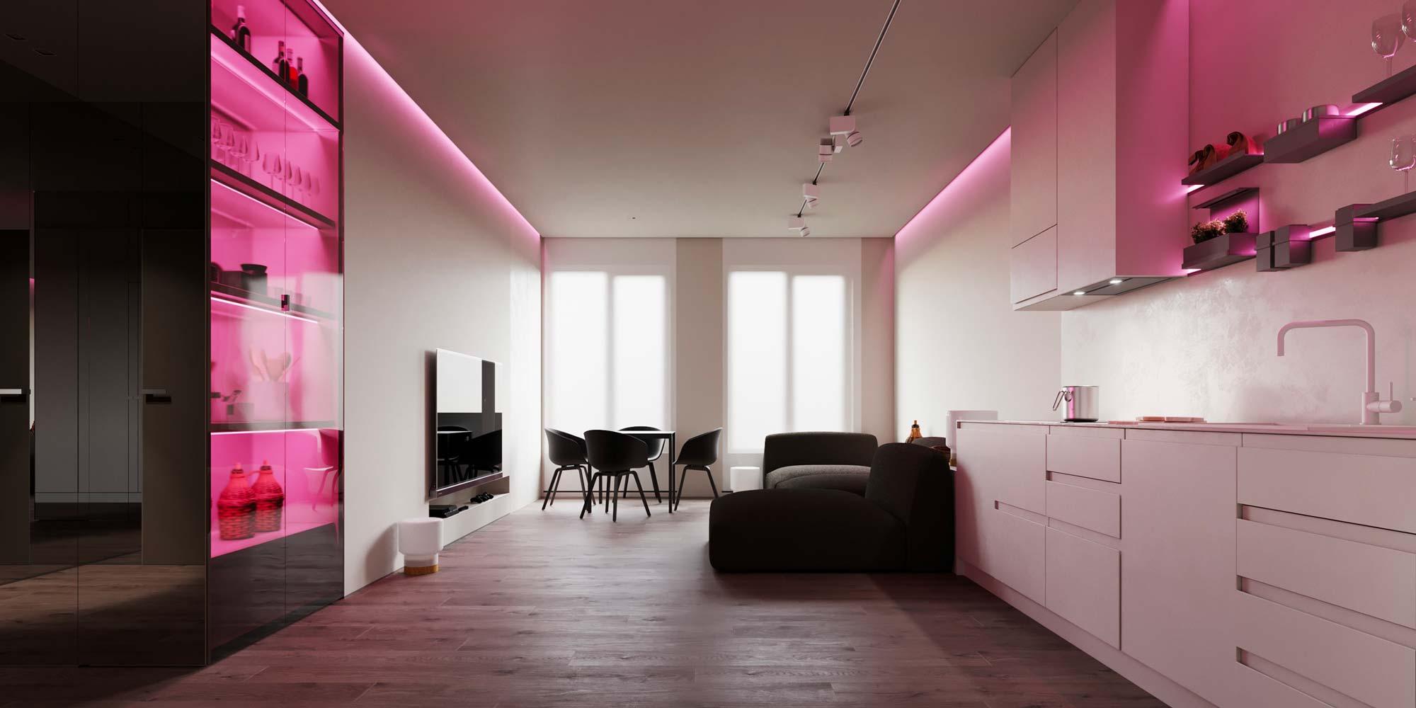 Une cuisine minimaliste blanche éclairée par des néon rose