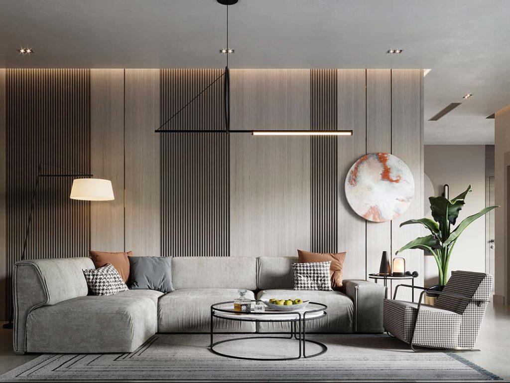 Un salon contemporain avec un mur habillé de lambris de bois gris clair et des tasseaux de bois