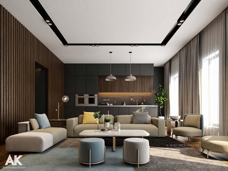 Salon et cuisine design aux murs habillés d'un bardage intérieur en tasseaux de bois en chêne