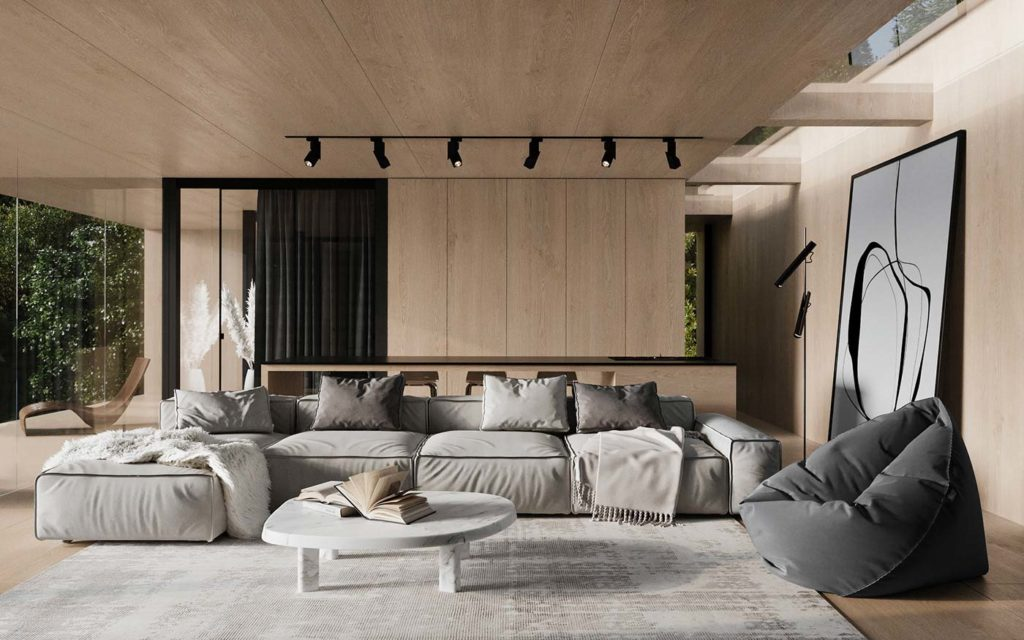 Salon ultra design avec un bardage intérieur en chêne clair aux murs et au plafond