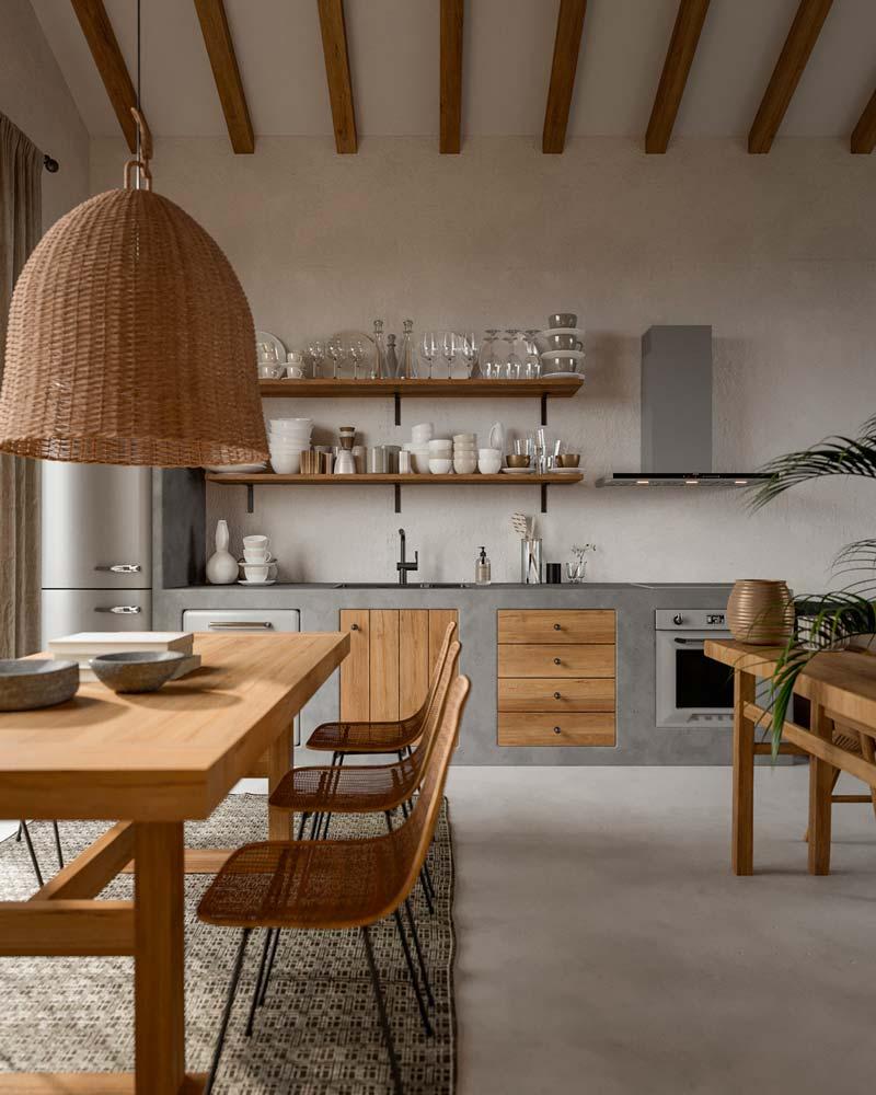 Une cuisine bohème avec des étagères pleine de vaisselle