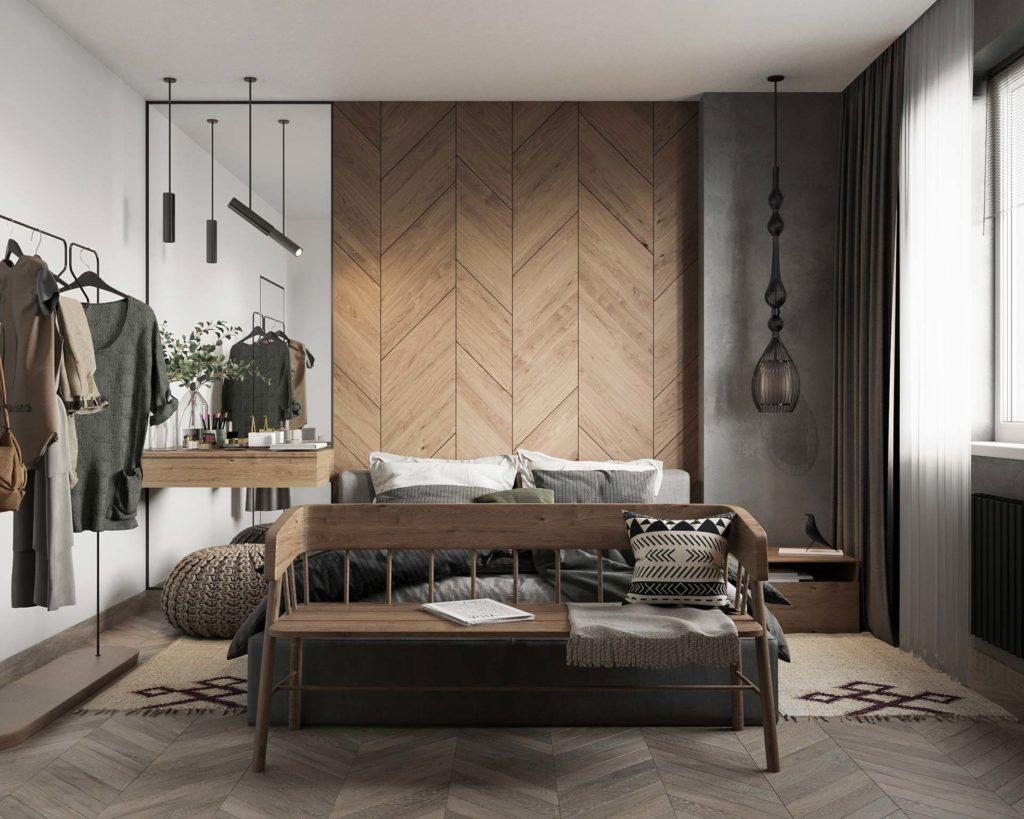 Tête de lit en lambris de bois en chevron