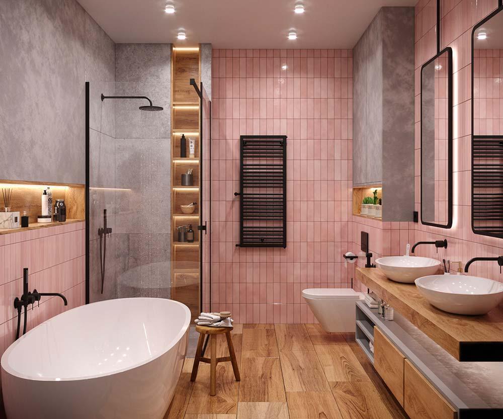 Salle de bain en béton, bois et zellige couleur vieux rose