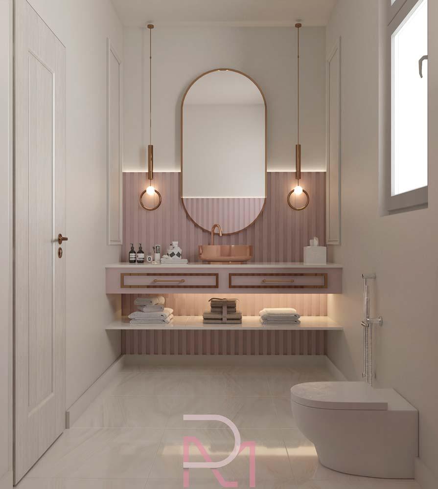 Une salle de bain tendance et féérique avec du vieux rose et des accessoires rose gold