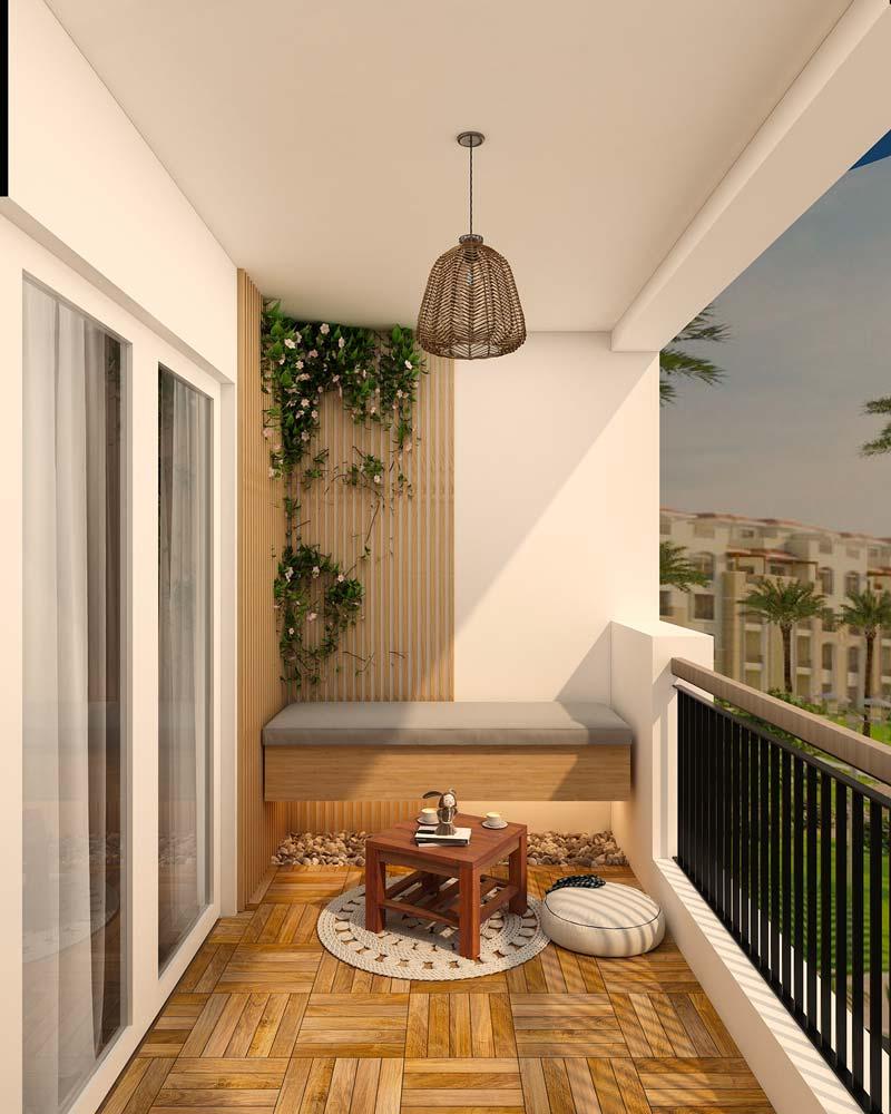Un balcon agencé avec une banquette suspendue, un sol en tasseaux de bois blond et une plante d'angle pour une touche de verdure