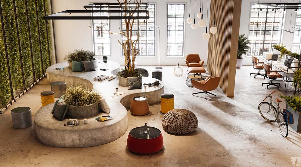 Un grand espace de détente et de coworking lumineux avec un jardin intérieur, des sièges en cuir et des poufs colorés