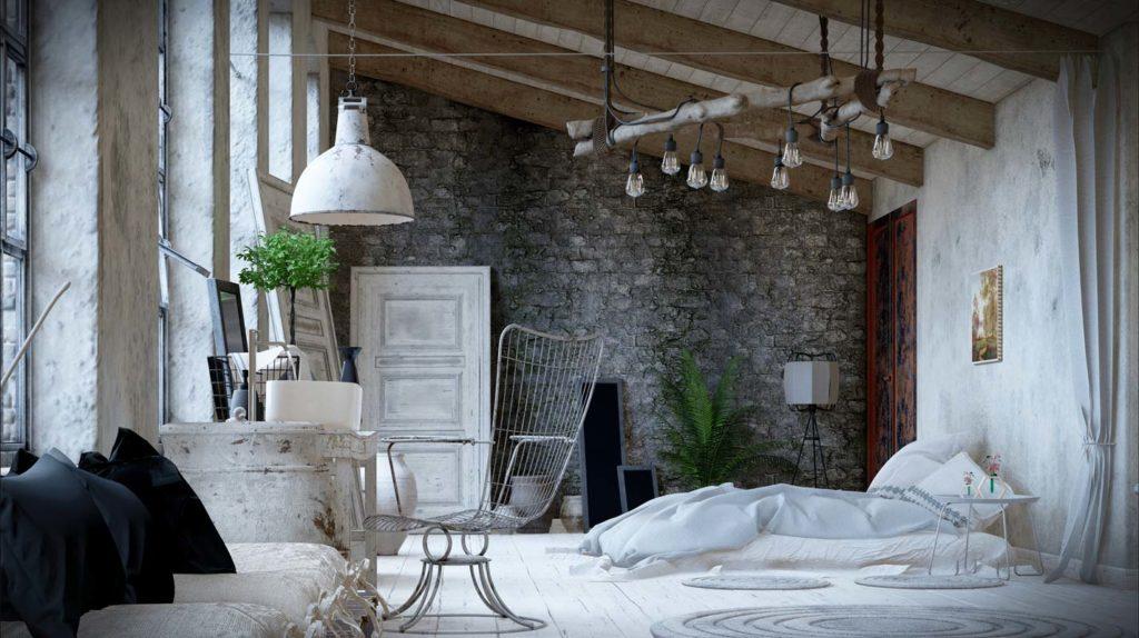 Une chambre parentale blanche et grise au style ancien avec mur de pierre grise, des meubles de bois vieilli et une chaise en fer blanc
