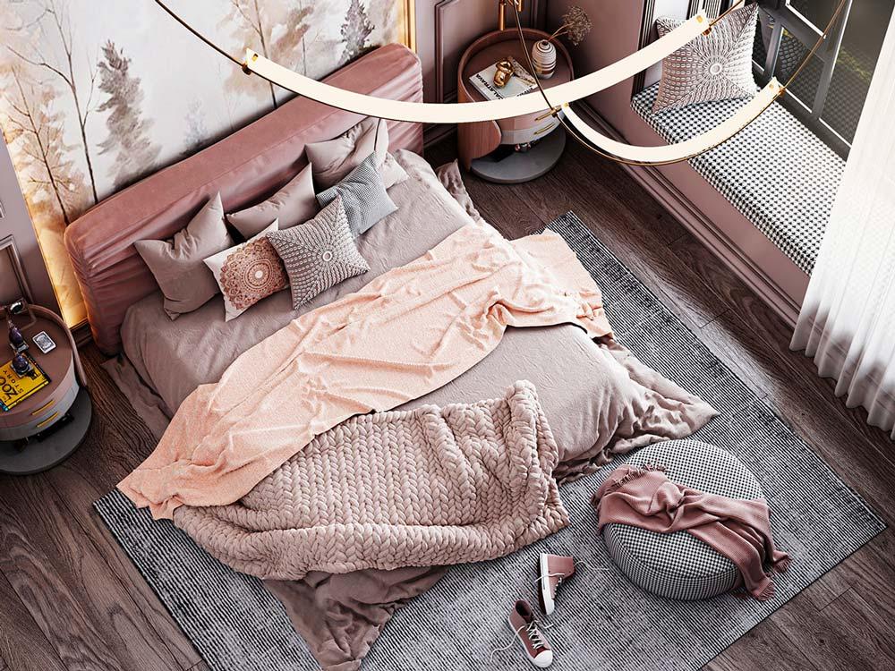 Une chambre classique avec de la petite déco rose et grise avec une tête de lit en velours vieux rose