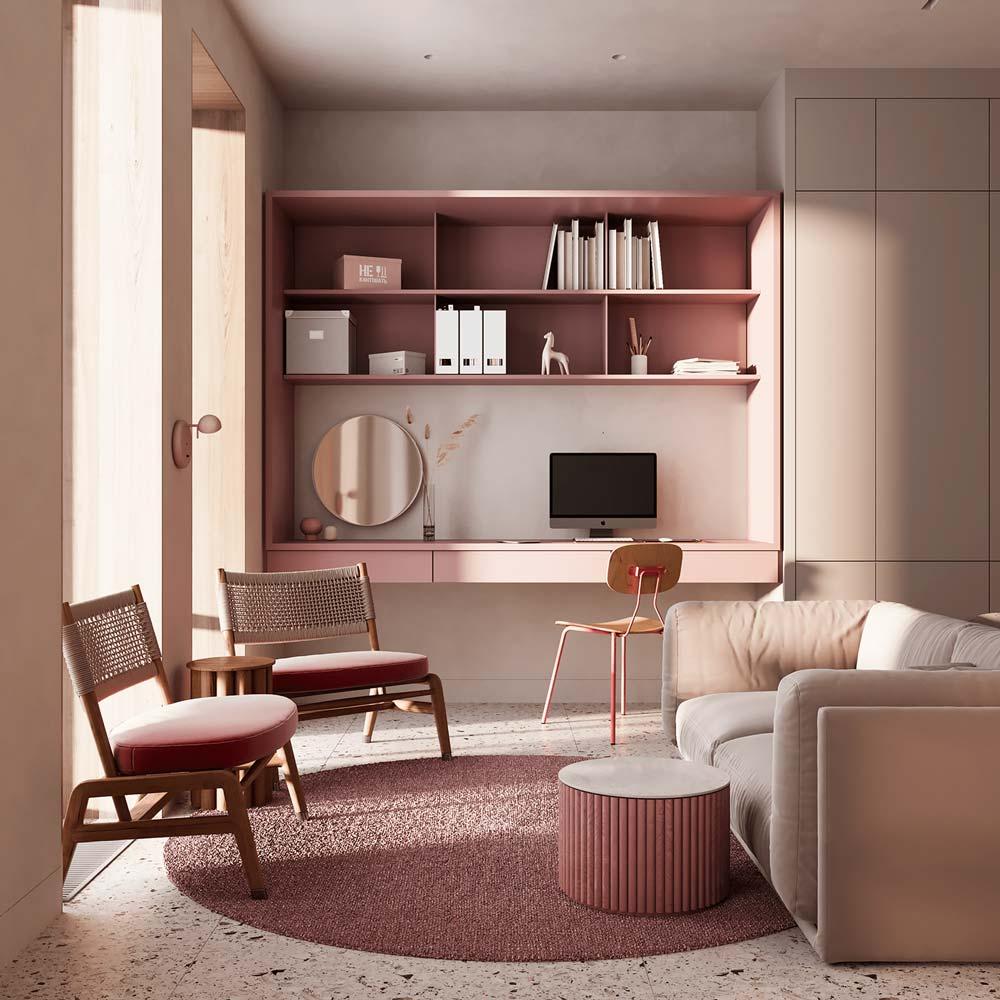 Salon et bureau accueillants aux meubles roses, canapé blanc et sol en terrazzo