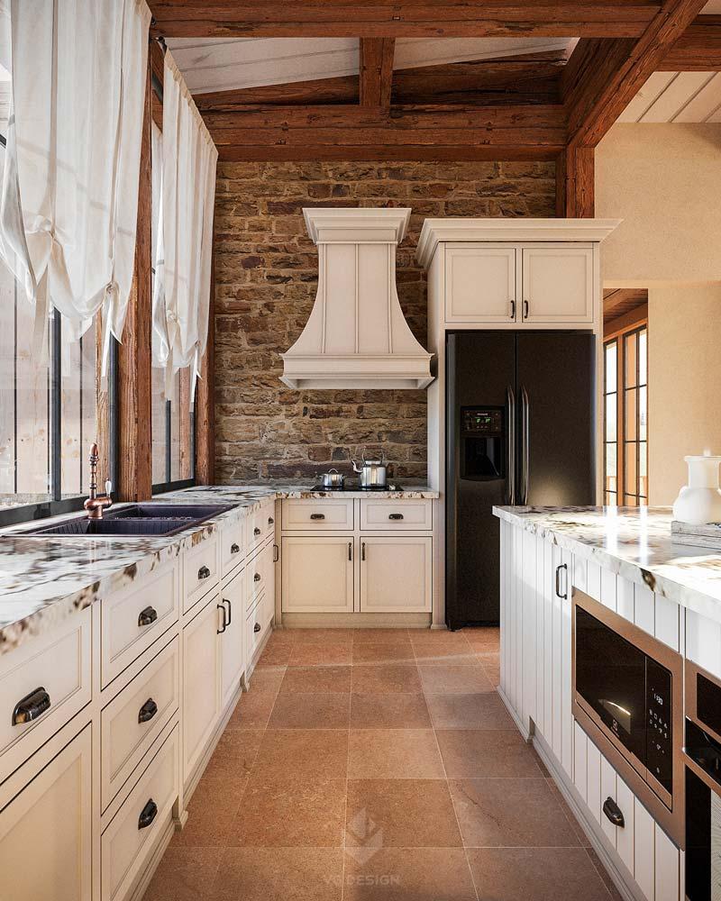 Une cuisine rustique aux meubles blancs, au carrelage beige et au mur en briques