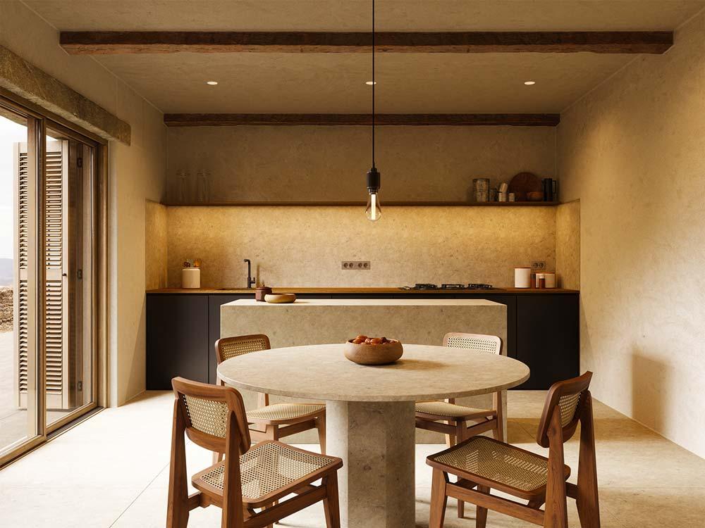 Une cuisine avec un ameublement en pierre et en bois