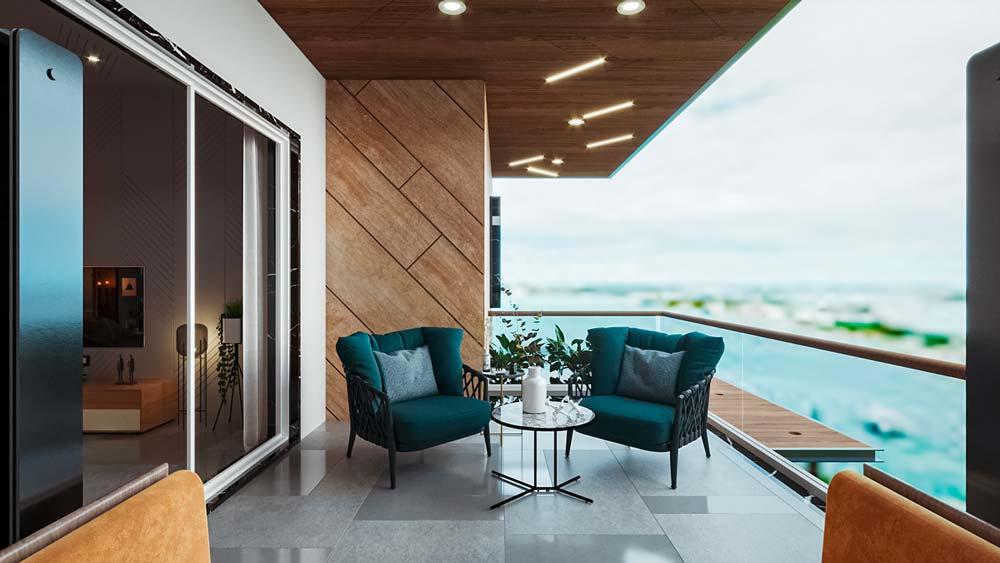 Un balcon avec du carrelage gris, un revêtement mural géométrique en bois et des fauteuils bleu canard