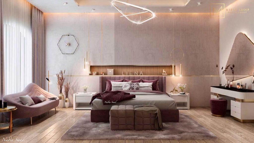 Chambre au design moderne blanc et vieux rose avec de la déco violette et des murs ondulés