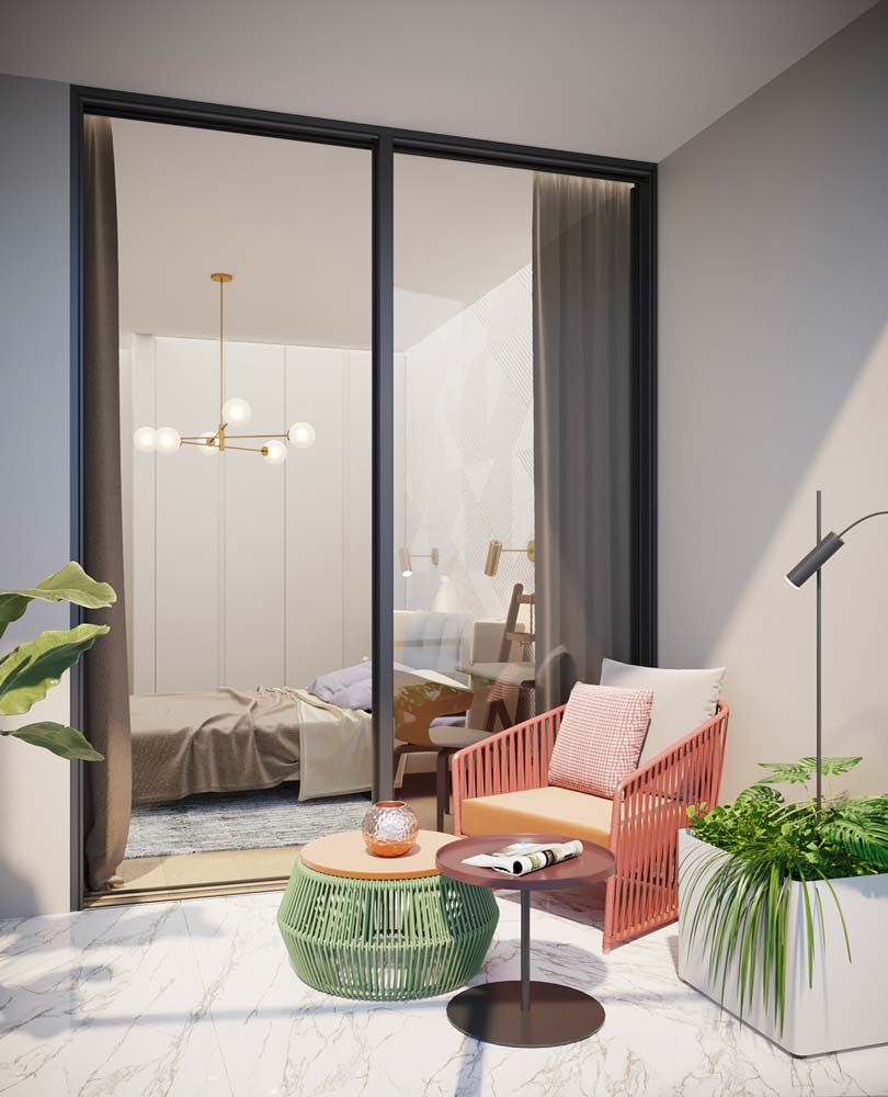 De la décoration colorée verte et rose pour un balcon blanc et lumineux au sol en marbre blanc