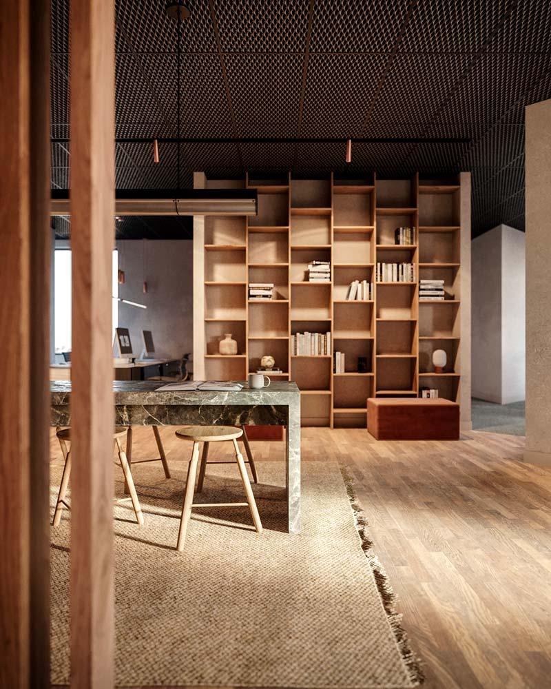 Des étagères dans des espaces de coworking avec de la déco aux codes domestiques