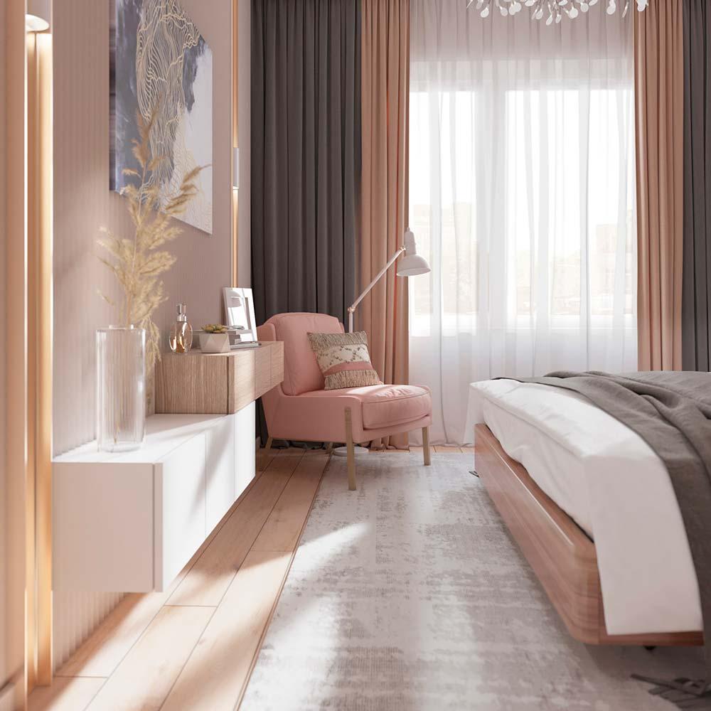 Chambre parentale avec fauteuil rose poudré et rideaux roses et gris