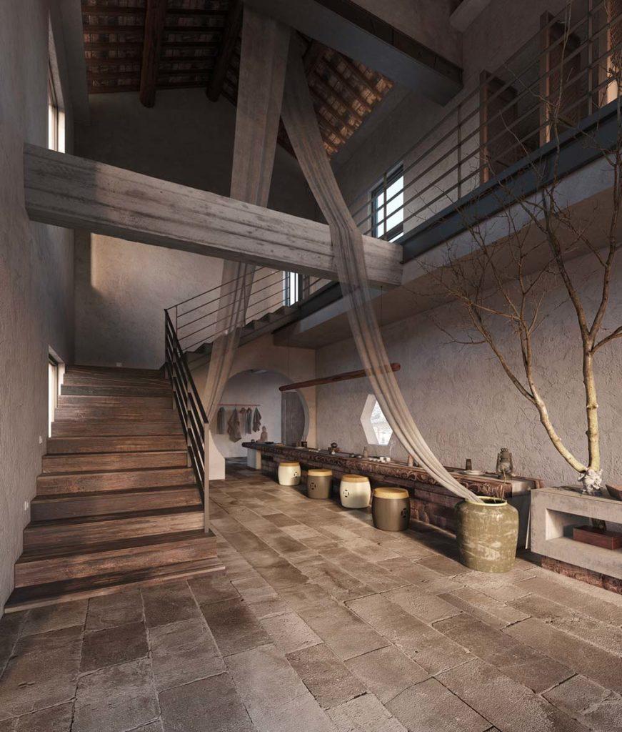 Un hall d'entrée rustique avec des poutres apparentes, un carrelage ancien et des escaliers en bois