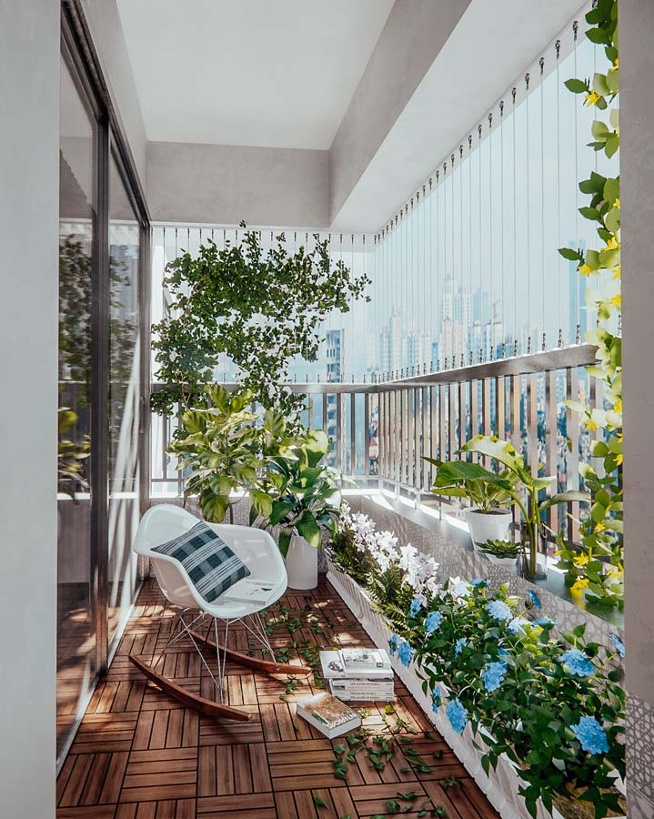 Un balcon étroit et accueillant avec de la verdure, un sol en tasseaux de bois et un fauteuil à bascule pour un coin lecture agréable