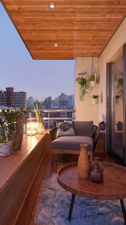 Un petit balcon cocooning avec un fauteuil confortable, de la déco artisanale et des luminaires chaleureux