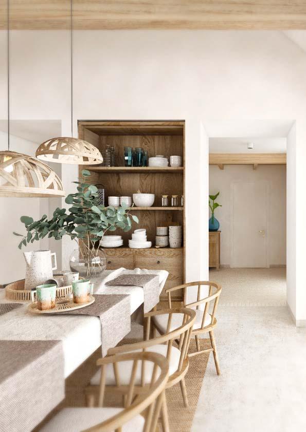 Une salle à manger rustique et chic avec une table, des chaises et une armoire en bois blond