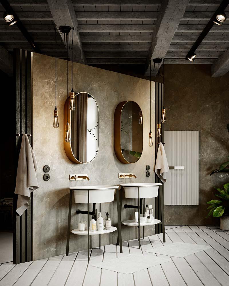 Une salle de bain campagne chic avec un mur en béton, un plancher clair et des accessoires dorés et noirs