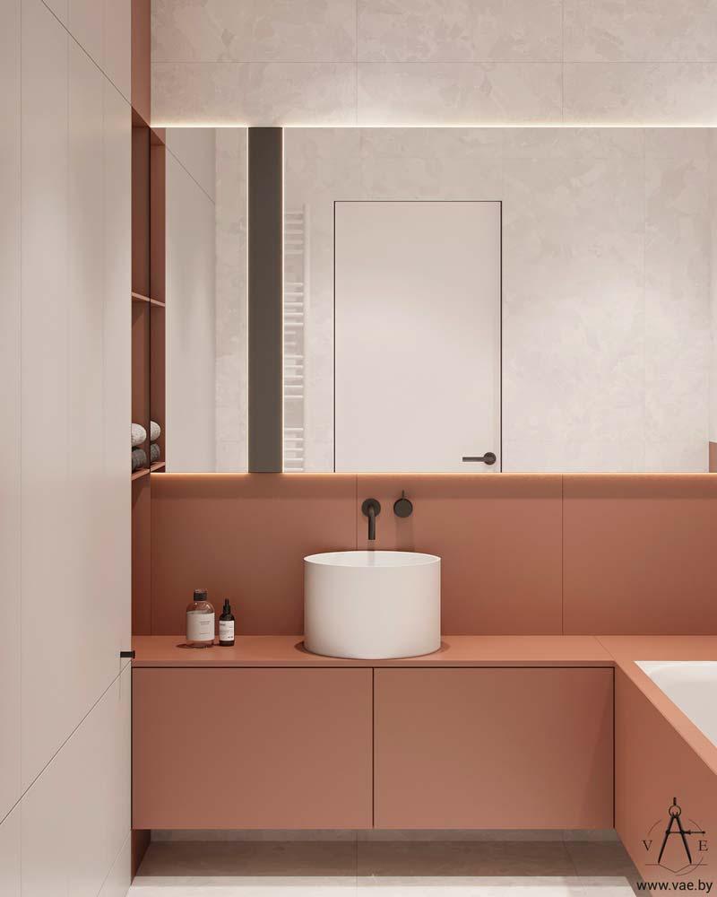 Salle de bain minimaliste et moderne rose poudré et blanche